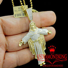 Mens 10K Yellow Gold Finish Genuine Diamond Full Body Jesus Piece Pendant 2.55""