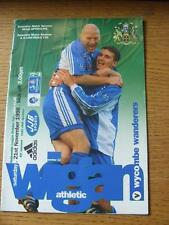 21/11/1998 Wigan Athletic v Wycombe Wanderers  (Creased).
