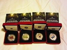 Prehistoric Animals: ALL FOUR COINS - 25-Cent Coloured Glow-in-the-Dark