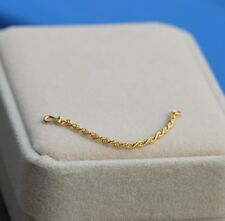 NEW 24K Yellow Gold Extended Rope Link Chain / 5cm Length