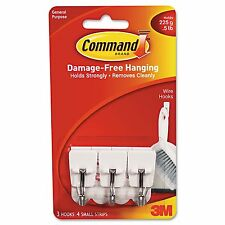 3M REMOVABLE WHITE WIRE Utility HOOKS * COMMAND ADHESIVE * 3 Pack * SMALL 1/2 Lb