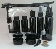 Carry-on Travel Bag with Black containers TSA compliant kit bottles jars ~in USA
