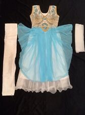 "26"" Age 4-5 Kids Bollywood Salwar Kameez Indian Girls Fancy Dress Blue White"