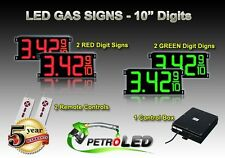 "10"" LED GAS STATION Electronic Fuel PRICE SIGN DIGITAL CHANGER Complete Package"
