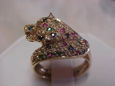 *ESTATE*DIAMOND-EMERALD-RUBY-SAPPHIRE PANTHER CAT RING 14K YELLOW GOLD sz7.5