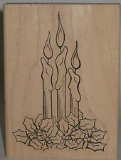 Make An Impression Rubber Stamp - Christmas Candles with Poinsettias