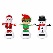 Pack of 3 Solar Powered Dancing Christmas Ornaments (Santa, Elf, Snowman)