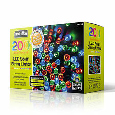 200 Led Multi Coloured Solar Powered Fairy String Lights Garden Party Xmas