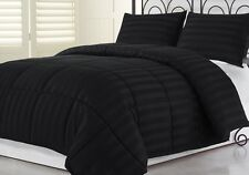 3pcs Hotel Dobby Stripe Goose Down Alternative Comforter Set, Black, Full/Queen