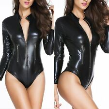 Sexy Women Leather Gothic Zipper Catsuit Bodysuit Jumpsuit PVC Clubwear Costume
