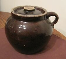 antique 1800's handmade stoneware pottery lidded bean pot brown crock jar jug