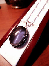 "New AMETHYST Necklace Pendant Set 24"" SilverPlated Amulet Oval Rope Boho Simulat"