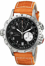 Hamilton Khaki Aviation ETO Chrono Orange Leather Men Watch H77612933 New Orig