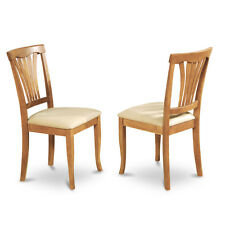 East West Furniture AVC-OAK-C Avon Dining Chair with Microfiber Seats (Set of 2)