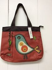 Chala Big Tote Shoulder Purse Travel Bag Colorful Bird Brick Red Carry On New