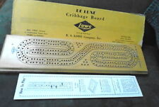 """Vtg E.S. Lowe Deluxe Cribbage Board Continuous Track w/Pegs & Box 14"""" Hardwood"""