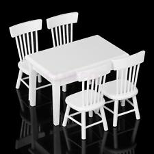 Set of 5pcs Miniature Dining Table Chairs for 1:12 Dollhouse Furniture White New