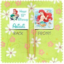 20 PERSONALISED DISNEY PRINCESS ARIEL LITTLE MERMAID CUP CAKE FLAG Topper Pick