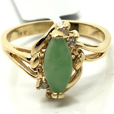 18K Yellow Gold Jade Diamond Ring