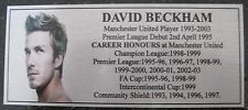 Soccer David Beckham Manchester United Stats Silver Plaque new