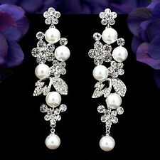 Rhodium Plated Clear Crystal  Rhinestone Pearl Flower Chandelier Dangle Earrings
