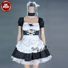 Black Mixed White Lolita French Maid Apron Skirt Costume Cosplay Party Dress