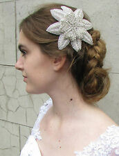 Large Silver Diamante Flower Hair Clip Headpiece Bridal 1920s Great Gatsby R79