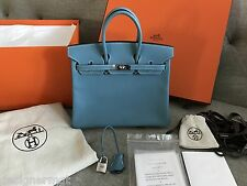 NIB 100%AUTH HERMES 25CM Blue Jean Birkin Epsom Leather Palladium Hardwares
