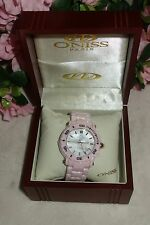Oniss Paris Oversized HI TECH Pink Ceramic white dial swiss Watch NEW
