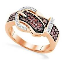 Fabulous! 100% 10K Rose Gold Red & White Diamond Belt Buckle Ring .50ct