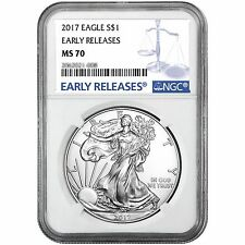 2017 Silver American Eagle MS70ER NGC Blue Label