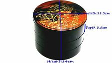 3 Layer JAPANESE ANTIQUE LACQUER TRADITIONAL JUBAKO LUNCH BOX (MAKIE)