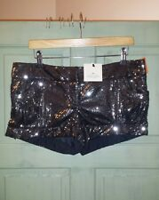 BNWT Womens Riverisland Sequin Party Shorts Hot Pants Grey Black 12 £30