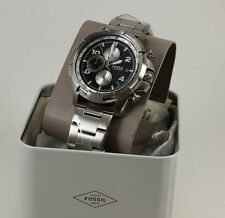 NEW AUTHENTIC FOSSIL DEAN CHRONOGRAPH SILVER BLACK DIAL MEN'S FS5112 WATCH