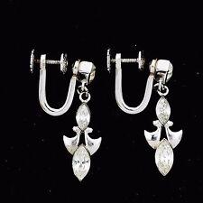 Vintage Designer Sterling Silver Bridal Bridesmaid Screw On Paste Earrings!