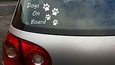 DOG / DOGS ON BOARD Puppy Animal Lover Pet vinyl window car sticker decal WHITE