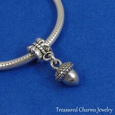 Silver ACORN Dangle Bead CHARM Fall Autumn Nature fits EUROPEAN Bracelet