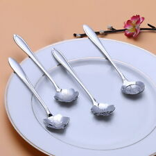 4pcs Set Stainless Steel 125mm Flower Ice Cream Spoon Dessert Coffee Soup Spoon