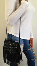 Urban Outfitters Crossbody Handbag With Fringe And Studs Black NWT