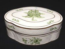 Vintage HOLLOHAZA Hungary Hand Painted Green & White Rose Bud Floral Dresser Box