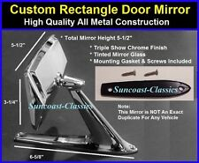 Ford Rectangle Exterior Rearview Door Mirror w/ Gaskets & Screws Chrome A-K