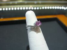 FINE 14 KARAT WHITE GOLD DIAMOND AND PINK SAPPHIRE RING HAND MADE SIZE 6.5 NEW