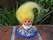 "1960s Original Thomas Dam 3"" Vintage Troll Doll: Green Glass Eyes, Yellow Mohair"