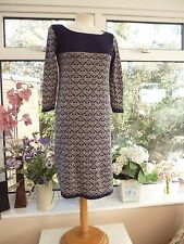 "GORGEOUS ""MONSOON"" BLUE & BEIGE NORDIC PATTERNED COTTON KNIT JUMPER DRESS Sz M"