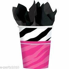 PINK ZEBRA STRIPES 9oz PAPER CUPS (8) ~ Birthday Party Supplies Animal Print