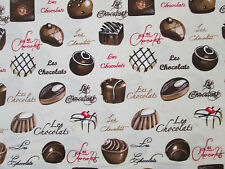 CHOCOLATE CANDY FRENCH CANDIES LES CHOCOLAT COTTON FABRIC BTHY
