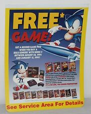 Sonic The Hedgehog Sega Genesis System Store Display Sign Poster Promo Vintage