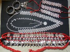 9 pieces Temple Jewelry South Indian Bridal Odissi Silver Plated Dance Set /