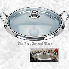 "14"" Round Griddle with Glass Lid 12-Element Stainless Steel Frying Pan Cookware"