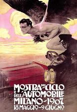 Art Poster - Mostra Del Ciclo Auto - Milano 1907 - Deco A3 Print